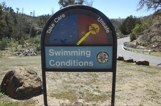 Swimming conditions sign