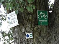 Signs for hiking and cycling