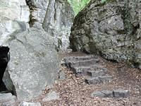 Hiking trail becomes a stairway between rocks
