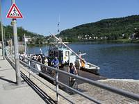 Boat crossing the Moselle river to Germany