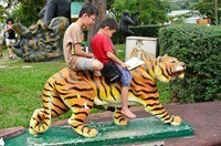 Kids reading a book on a tiger